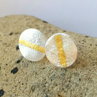 Minimal Round Textured Silver Stud Earrings with Gold Line, Handmade in UK