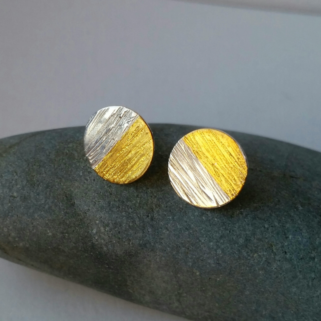 Minimal Round Textured Silver Stud Earrings with Gold, Handmade in UK. Medium
