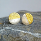 Sterling Silver and gold textured small stud earrings, Handmade UK