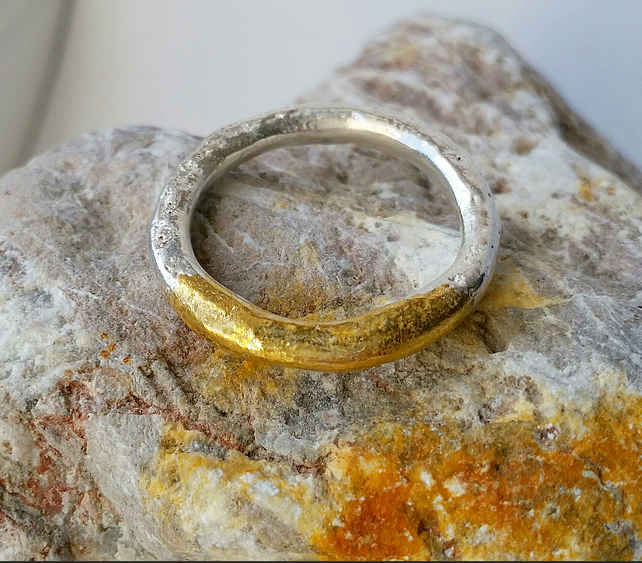 Beautiful Heavy Distressed Fused Silver and Gold Ring, UK Handmade