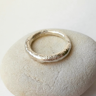 Forged distressed textured heavy silver ring, handmade contemporary silver ring