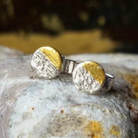 Sterling Silver and gold tiny stud earrings, Little Textured Studs. Small