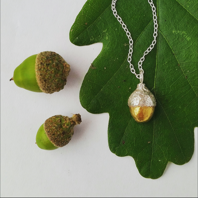 Little Golden Acorn silver and gold necklace