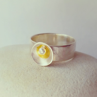 Wide Silver Ring with 24ct Gold accented Sun and Moon