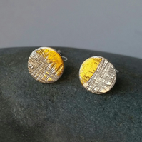 Sterling Silver and gold textured medium size stud earrings, Handmade UK