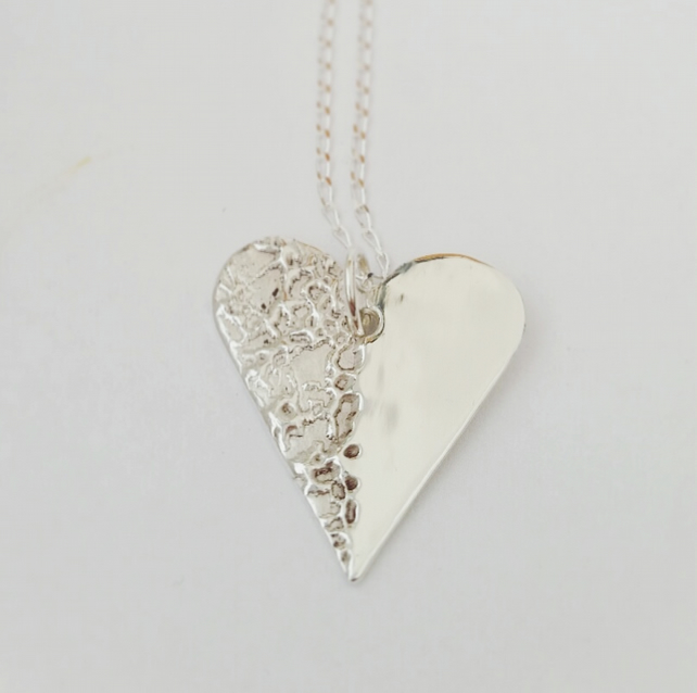 Silver  Heart necklace. Gift for her
