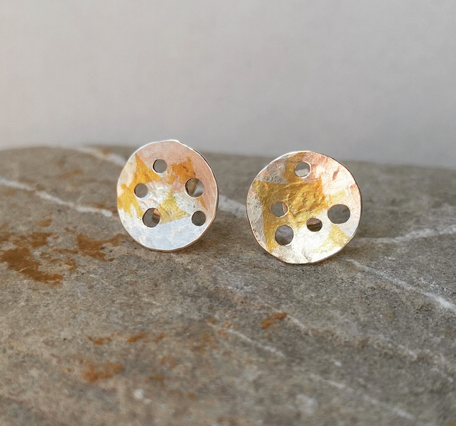 Handmade organic feel Silver stud Earrings With Gold Accent.