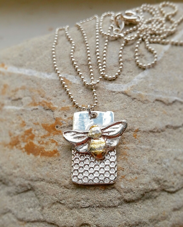 Silver and Gold Bee necklace. Golden honeybee ,