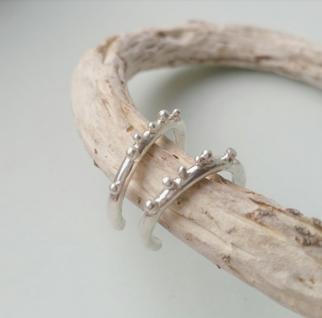 Organic feel sterling silver hoop earrings