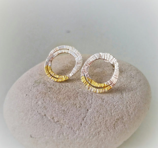 Nature inspired 'LICHEN' silver textured stud earrings with gold detail