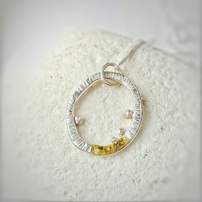 Lichen inspired quirky textured silver necklace with gold detail