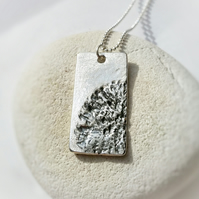 Silver dog tag impressed with Lichen. Nature inspired necklace