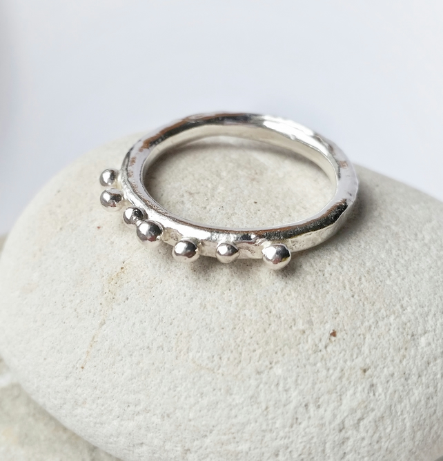 Quirky Unusual Organic Feel Silver ring with seed balls