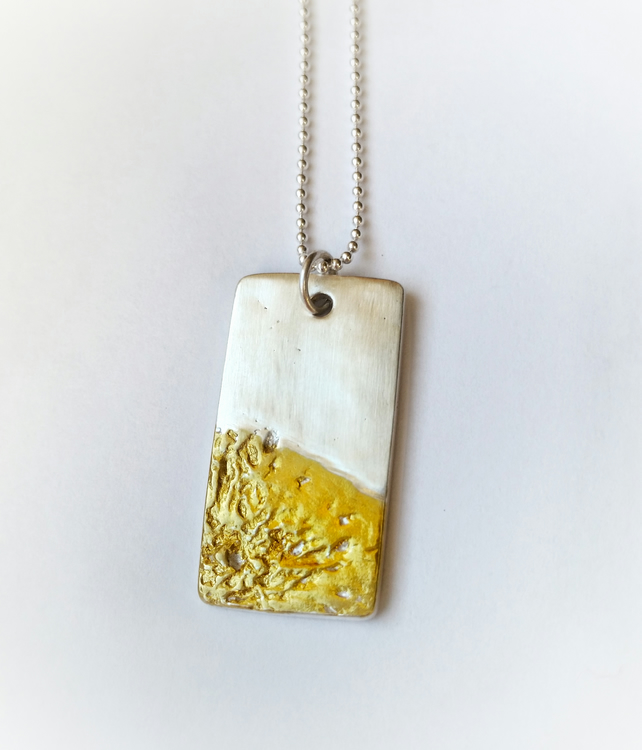 Nature inspired silver lichen dog tag necklace with gold