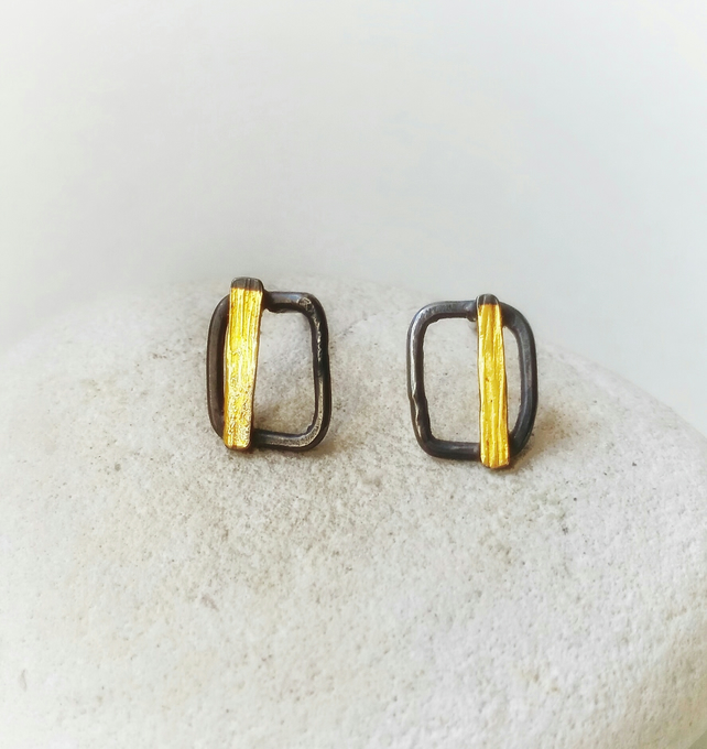Nature inspired  Handmade Textured Silver Stud Earrings With Gold