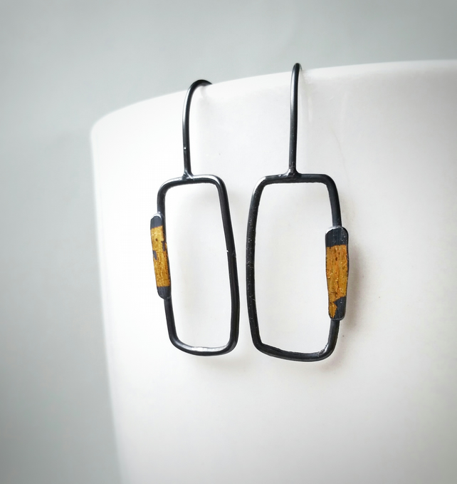 Contemporary minimal drop Silver Earrings with gold accent