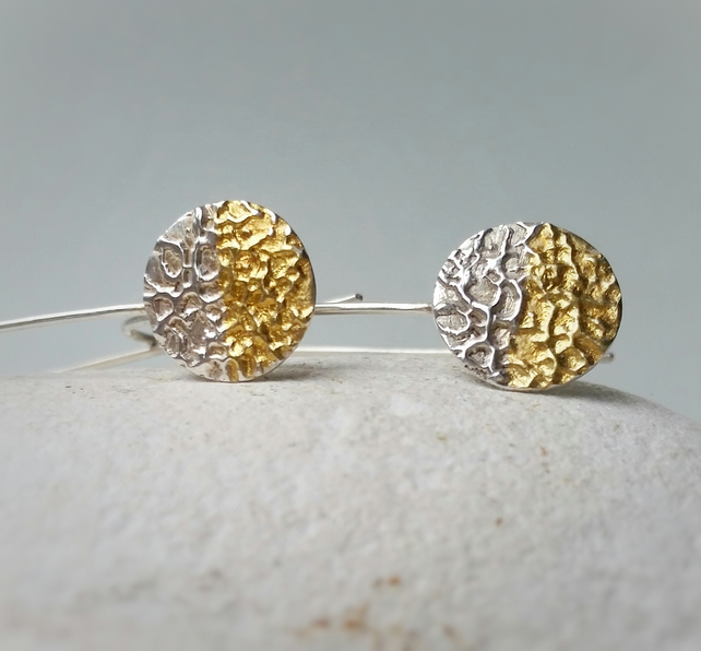 Contemporary Sterling Silver and 24 carat Gold Textured Circle Drop Earrings