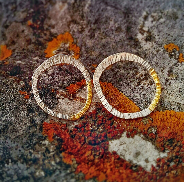 Nature inspired 'LICHEN' silver stud earrings with gold accent