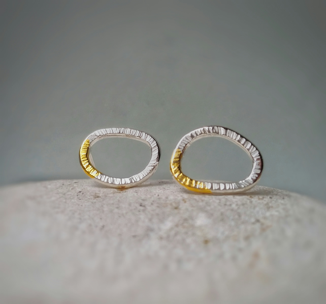 Nature inspired 'LICHEN' silver textured small stud earrings with gold detail