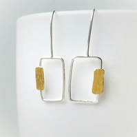 Nature inspired minimal silver earrings with gold detail