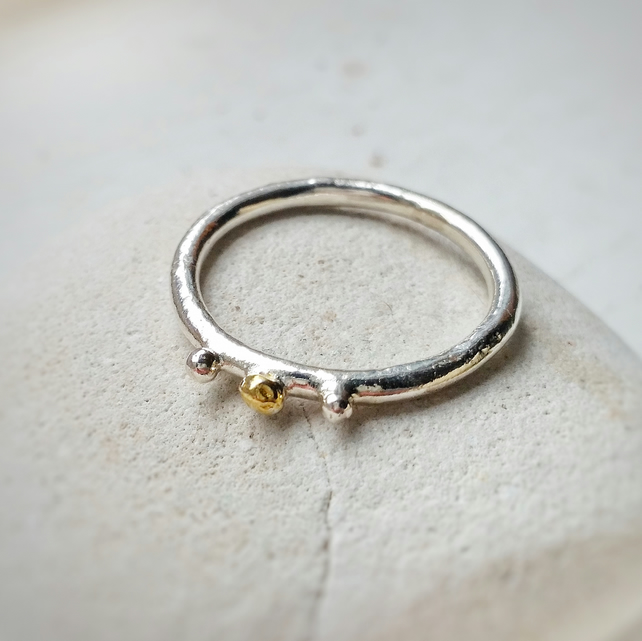 Organic texture Silver and 9ct Gold Ring, Handmade in UK