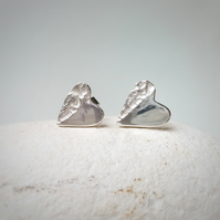 'Rough with the smooth' textured silver heart stud earrings. Gift for her