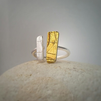 Organic feel adjustable silver ring with 24ct gold detail