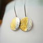 SALE Silver and 24ct Gold round Drop Earrings with nature inspired texture