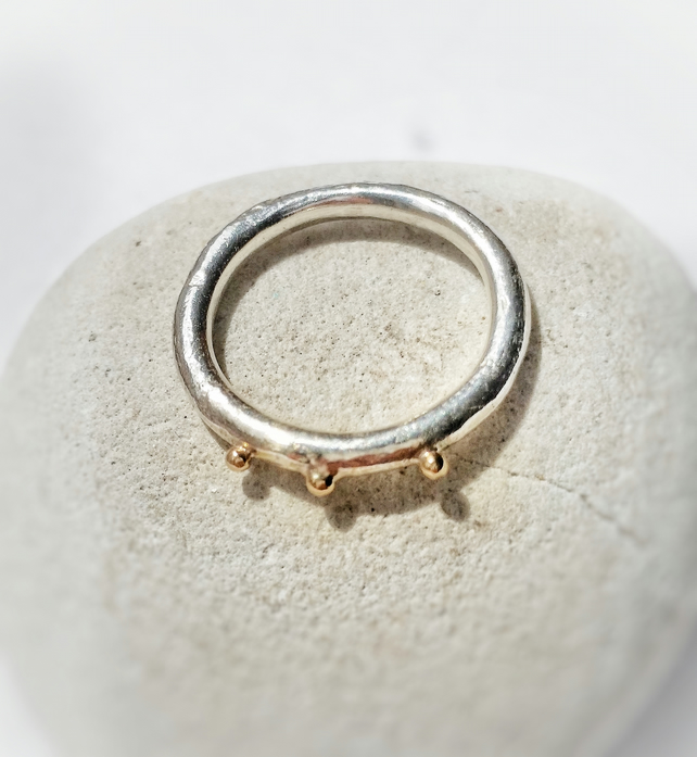 SALE Organic texture Silver and 9ct Gold Ring, Handmade in UK