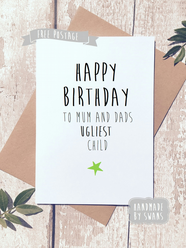 Funny birthday card sibling card sister card folksy funny birthday card sibling card sister card brother card ugliest child bookmarktalkfo Images