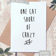 Funny Birthday Greetings card, Cat lover, Cat card, Crazy cat lady