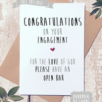Funny engagement card, congratulations, card for friend, for couple, comedy