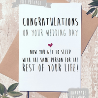 Funny wedding card, congratulations, wedding day card, for couple, comedy