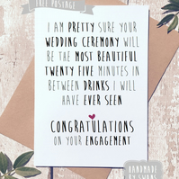 Funny engagement card, congratulations, engaged card, for couple, comedy