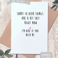 Sympathy Card, Card for friend, Thinking of you, Greeting card, rude card