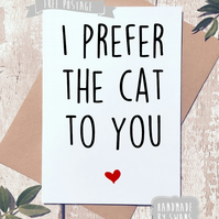 Funny Valentines card, love, Cat card, humour, greeting card, Valentine's day