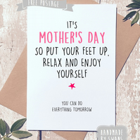 Mother's day card - Put your feet up and relax