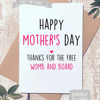 Mother's day card - Thanks for the womb and board