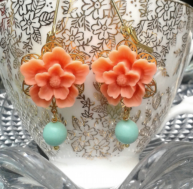 Peach flower cabochons earrings....