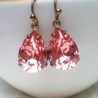 Peachy salmon pink Vintage glass Earrings...