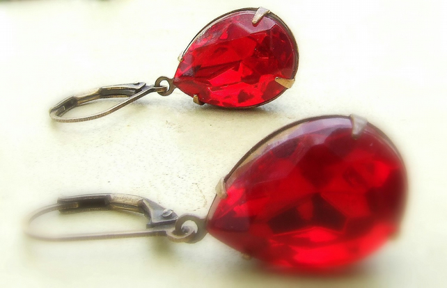 Pear Red Siam faceted Crystal Earrings....