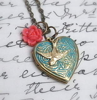 Heart Locket & Bird Necklace