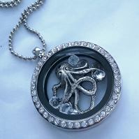 Floating  Locket ,  Octopus & Swarvoski  Crystals