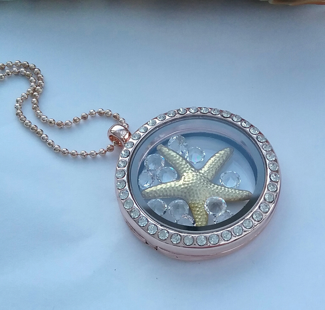 Floating  Locket , Starfish &   Swarvoski  Crystals