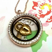 Floating  Locket with Swarvoski  Crystals, Brass Heart and key