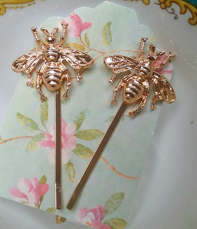 Honey Bee Bobby Rose Gold Pins