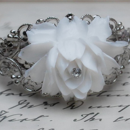 Gorgeous White Rose Bracelet........