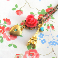 Heart Locket and Eiffel Tower Necklace......
