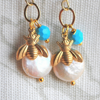 Bee & Keshi Pearl Earrings