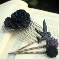 Gorgeous Black  Rose Cabochon Hair Comb & Bobby Pins Set........